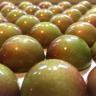 Milk Chocolate candies with olive oil gananche.